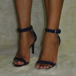 Guess Suede Patent Leather Navy Strappy Heels